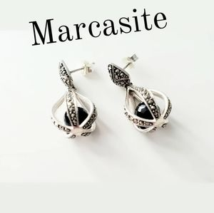 Jewelry - Marcasite and Caged Black Onyx Dangle Earrings